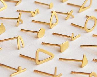 Massiv 14k stud goldene Ohrringe, einzelne Ohrstecker 14 Karat gold Mix Match Ohrringe, nicht übereinstimmende Ohrringe, alltäglichen Ohrringe, winzige gold Ohrstecker