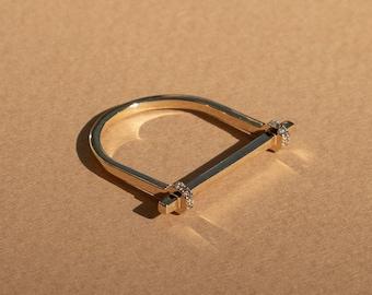 Mona diamond bar ring, 14k gold shackel ring, industrial gold ring