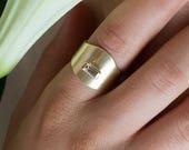 Carmen, 14k gold signet ring, solid gold signet ring, gemstone signet ring, 14k gold cocktail ring, 14k gold tourmaline ring, baguette ring