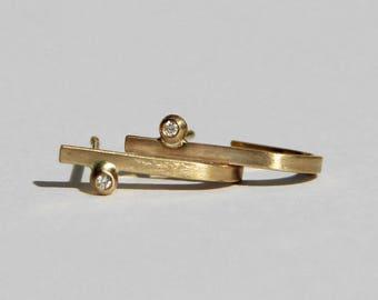Kimora lange Diamant-Ohrringe, kleine Diamant Creolen, minimalistische Diamant-Ohrringe, zierliche Diamant-Ohrringe, Diamant-Bar-Ohrstecker