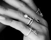 Dot silver CZ ring, gemstone stacking rings