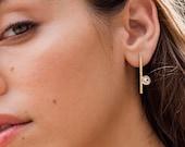 JOAN diamond statement earrings, long diamond earrings 14k gold