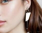 Asymmetric earrings, architectural earrings, modern statement earrings silver, geometric statement earrings, statement hoop earrings