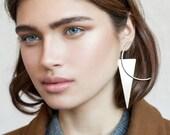 Triangle statement earrings silver, modern statement earrings silver, single statement earring, asymmetrical earrings, minimalist statement