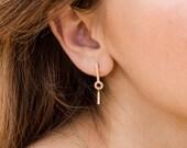 MOLLY geometric diamond earring, long diamond earrings 14k gold