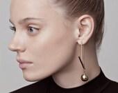 Amber Earrings, gold asymmetrical earrings, mismatched earrings gold, gold statement earrings, geometric gold earrings, long gold earrings