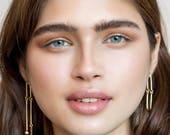 Long Alia earrings / silver, double sided earring, modernist sterling silver earrings, cocktail earrings, mismatched earrings, contour