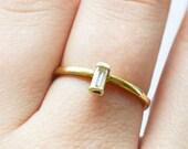 Charlotte Ring, Baguette Diamond Engagement Ring, Baguette engagement ring, Baguette Diamond Ring, Baguette diamond wedding band