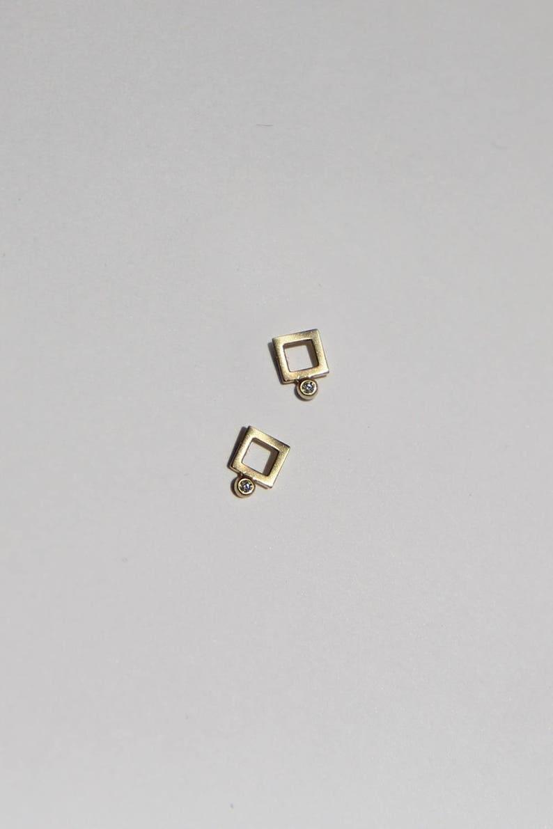 6cb5dddf3 Frankie square diamond stud earrings 14k gold earrings with | Etsy