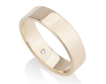 Adrian 5mm wedding band, 14k solid gold with hidden diamond, matte gold wedding band men, wide wedding band men