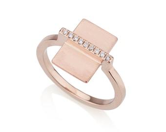 Arizona geometric engagement ring, 14k gold with diamonds,  micro pave engagement ring