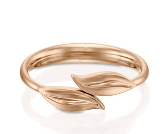 Leaves Ring, dainty leaf ring, wedding gold band, rose gold leaf ring, 14k rose gold ring, gold rings for women, rose gold engagement ring