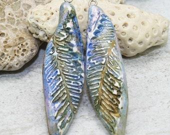 Polymer clay ceramic beads, Fern pendants or beads, spike bead, Artisan faux ceramic, rustic, aged, worn, grunge, boho chic, hippie style