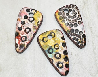 Set of 3 Polymer clay pendants or beads, Grunge, Crackle, Aged, Grunge beads, Handmade, ready to ship, Earring components, Jewelry making