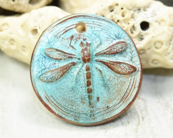 Polymer clay Dragonfly pendant, Faux ceramic round pendant grunge, aged, worn rustic, jewelry component, hippie boho chic