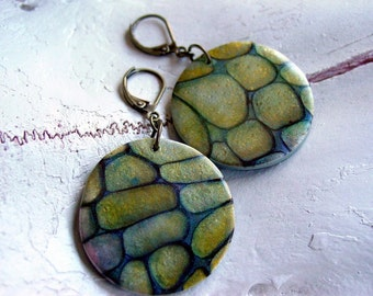 Rocky path Polymer clay tutorial - Instant download, ENGLISH ONLY, How to make polymer clay jewelry using texture plate, inks, powders, LEAF