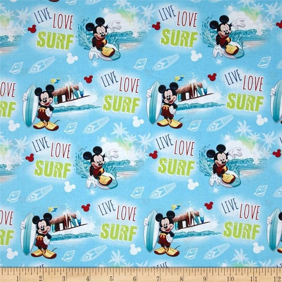 "1 yard Disney /""Mickey and Minnie With Icons/"" Fabric"