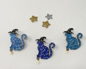 Wizard cat enamel pin brooch