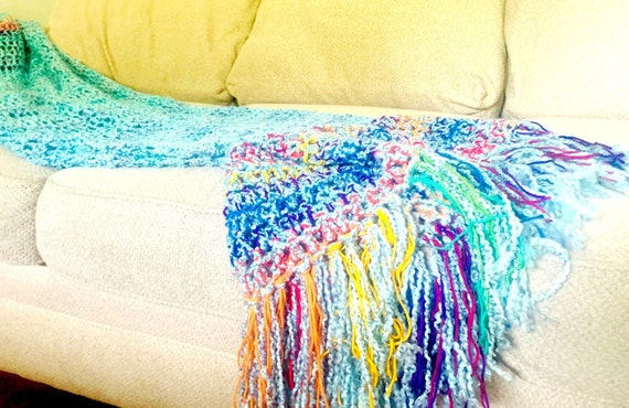 interior design home decor MADE TO ORDER Turquiose with Rainbow Combination home design with fringe Turquoise Rainbow Throw Blanket