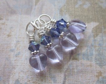 Brind'Amour June - Small Gauge Stitch Markers - Alexandrite and Silver - set of four - size US4
