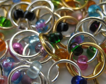 CUSTOM: One Dozen Plain - Cusomizable Non-Snag Stitch Markers - Set of 12 Without Dangle - Choose Your Options