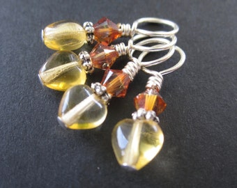 Brind'Amour November - Small Gauge Stitch Markers - Topaz and Silver - set of four - size US5