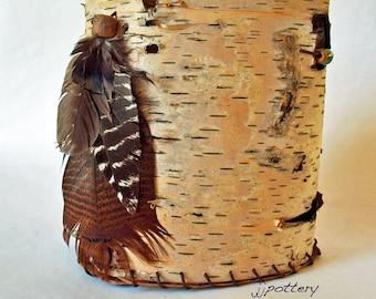 Birch bark container, Sculpture, Birch Bark Vessel, Home Decor Art, Woodland Wedding, Centerpiece, Handmade container, Rustic weddings