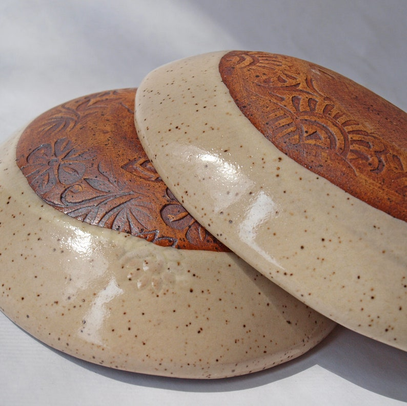 2 handmade pottery bowls  Perfect shallow prep bowls Bowls great for single servings too