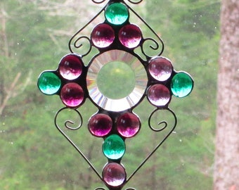 with Curly Cue Wire Stained Glass Suncatcher Blue Hand Spun Glass Rondelle Faceted Jewel Tail Blue /& Peach Nuggets