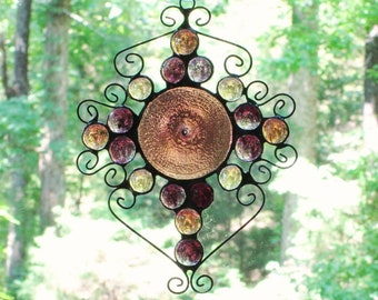 Stained Glass Suncatcher -  Light Dusty Rose Hand Spun Rondelle, Wire Curly Cues,  Purple, Cinnamon, and Peach Glass Nuggets