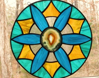 Stained Glass Panel - Round Panel with Agate - Amber, Clear, Teal, and Aqua Blue