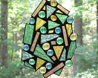 Stained Glass Suncatcher - Abstract, Scrap Glass, Pastel Blue, Green, Rose & Amber, with Glass Nuggets