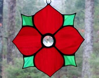 Stained Glass Suncatcher, Victorian Flower in Red Wispy, Green Wispy Leaves, Clear Jewel