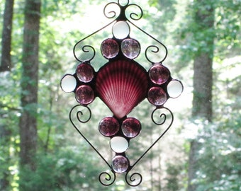 Stained Glass Suncatcher - Purple Sea Shell, with Purple and Clear Frosted Glass Nuggets, and Wire Curly Cues