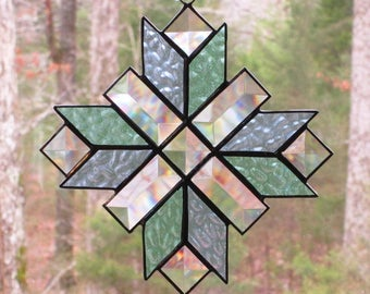 Stained Glass Suncatcher - Cross, Quilt Pattern in Pastel Blue & Green  with Clear Bevels