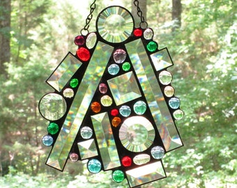 Stained Glass Suncatcher Panel- Large Abstract - Assorted Sizes of Clear Bevels with Colored Glass Nuggets