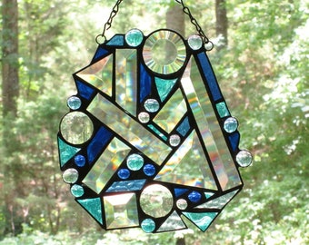 Stained Glass Suncatcher Panel- Large Abstract - Assorted Sizes of Clear Bevels with Blue Glass and Glass Nuggets