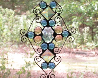 Stained Glass Suncatcher - Pale Blue Jewel, Blue and Peach Nuggets, Square Bevels, and Curly Cue Wire
