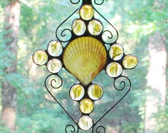 Stained Glass Suncatcher - Yellow Sea Shell, with Yellow and Pale Amber Glass Nuggets, and Wire Curly Cues