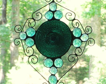 Stained Glass Suncatcher -  Dark Teal Green Rondelle, Wire Curly Cues, Teal and Aqua Iridescent Glass Nuggets