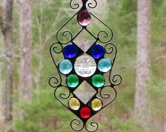 Stained Glass Suncatcher - Chakra - Iridescent Clear Moon face with Colored Glass Nuggets and Wire