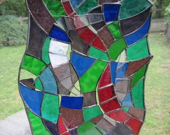 Stained Glass Panel, 3-D Abstract Multicolored (Clearance)