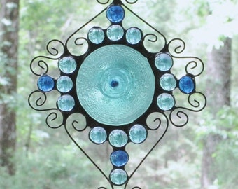 Stained Glass Suncatcher -  Light Blue Hand Spun Rondelle, Wire Curly Cues,  Dark and Light Blue Glass Nuggets
