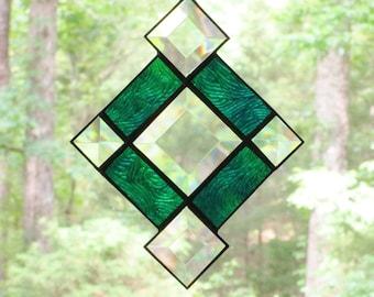 Small Stained Glass Suncatcher - Blue Green Swirled Vertigo Glass Border with Bevels