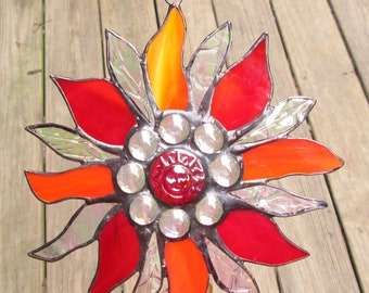 Stained Glass Suncatcher - Sun Star with Red Iridescent Sunface - Red and Orange Wispy Glass & Iridescent Clear Crackle Glass