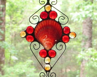 Stained Glass Suncatcher - Coral Sea Shell, with Red and Pale Orange Glass Nuggets, and Wire Curly Cues