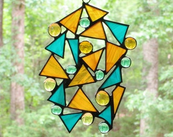 Stained Glass Suncatcher - Scrap Glass Abstract - Teal Green and Amber Wispy Glass with Teal and Light Amber Nuggets