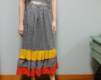 Vintage 70s Prairie Skirt, Gingham Skirt, Rockabilly, Square Dance, Black and White
