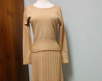 1970s Givenchy Sport Qiana Knit Skirt, Sweater Set, Camel Tan Dress two Piece