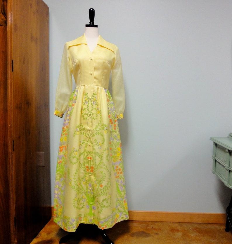 Alfred Shaheen Maxi Dress Vintage 1970's Hawaiian Dress image 0
